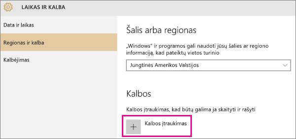 """Kalbos įtraukimas į """"Windows 10"""""""