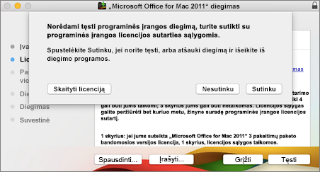 Lango sutikti su programinės įrangos licencijos sutarties sąlygomis ekrano nuotrauka