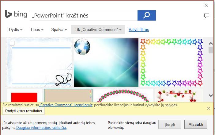 """""""PowerPoint"""" kraštinių, """"Bing"""" ieškos rezultatus."""
