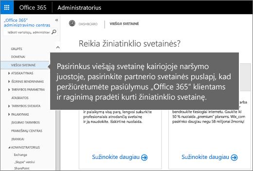 """""""Office 365"""" pasirinkite Viešoji svetainė"""