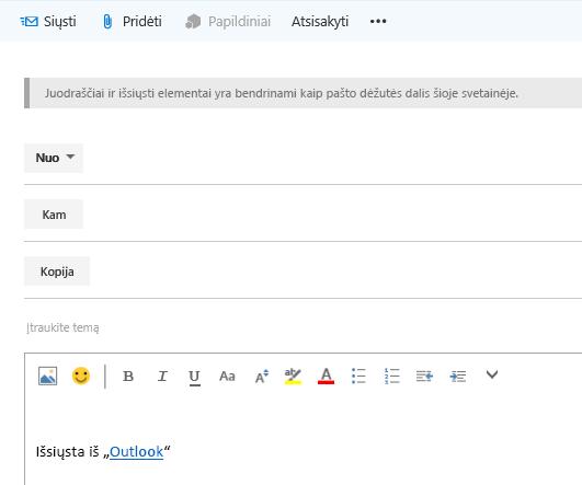 Adresų įtraukimas į el. laišką svetainės pašto dėžutėje
