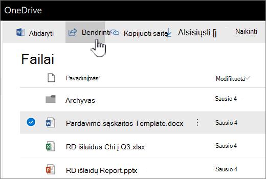 """""""OneDrive"""" failų su pasirinkta ir stumiamos mygtukas bendrinti"""