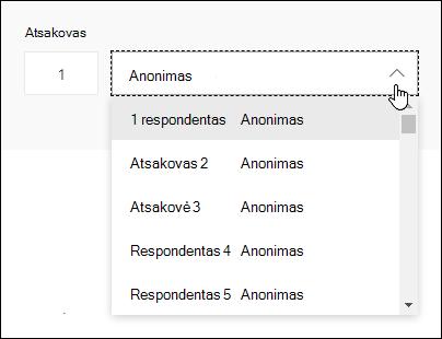 """""""Microsoft Forms"""" respondentų išplečiamojo sąrašo peržiūra"""