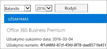 """Sąskaitų puslapio, esančio """"Office 365"""" administravimo centre, ekrano nuotrauka."""