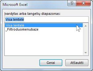 "Dialogo langas ""Microsoft Excel"" programoje ""Word"""
