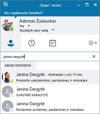 """Ekrano nuotrauka, vaizduojanti """"Skype"""" verslui langą, kuriame ieškoma norimo įtraukti kontakto."""