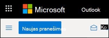 """Kaip atrodo """"Outlook"""" juostelė žiniatinklyje."""