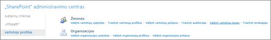 Valdyti vartotojų teises saitą puslapyje vartotojų profilius