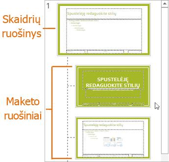 """Skaidrių ruošinys su maketais """"PowerPoint"""" rodinyje Skaidrių ruošinys"""