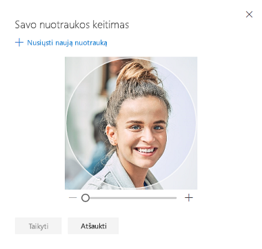 Ekranas, kuriame matyto parinktis pakeisti profilio nuotrauką