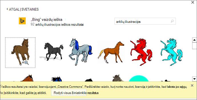 """Ieška """"arklių iliustracijos"""" teikia daug vaizdų, turinčių licenciją """"Creative Commons""""."""