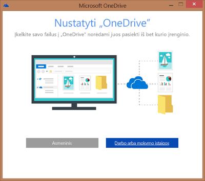 """Dialogo lango """"Sukonfigūruokite """"OneDrive"""", kai atliekamas """"OneDrive"""" verslui sinchronizavimo nustatymas, ekrano nuotrauka"""