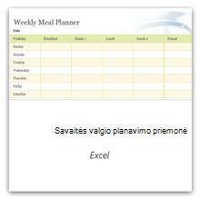 Pasirinkite, kad gautumėte savaitės valgiaraščio planavimo priemonės šabloną.
