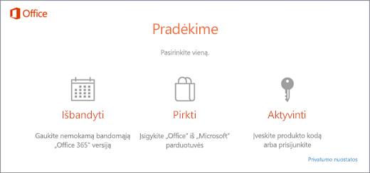 """Ekrano nuotrauka, kurioje rodomos numatytosios bandymo, įsigijimo arba aktyvinimo parinktys, skirtos naujam asmeniniam kompiuteriui, kuriame iš anksto įdiegtas """"Office""""."""