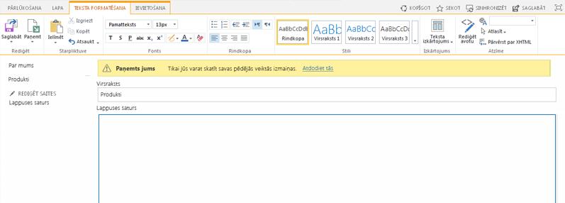 Naujo publikavimo puslapio su geltona juosta, nurodančia, kad puslapis paimtas, ekrano nuotrauka
