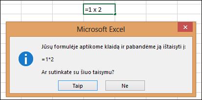 """Pranešimo laukas, kuriame prašoma pakeisti daugybos ženklą – iš """"x"""" į """"*"""""""