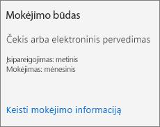 Prenumeratos kortelės mokėjimo metodo skyriaus, kai už prenumeratą mokama pagal sąskaitą faktūrą, ekrano nuotrauka.