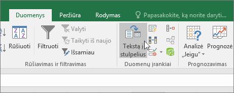 Duomenų skirtukas, mygtukas Tekstą į stulpelius