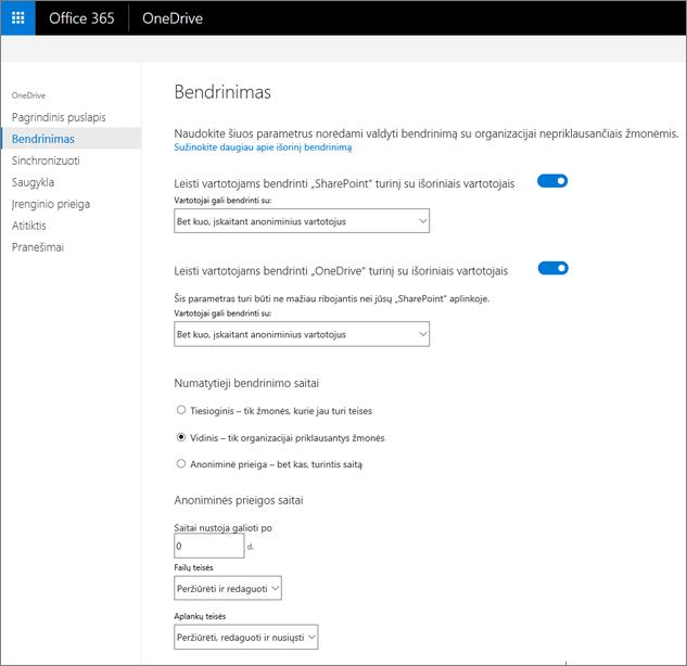 """Skirtuke bendrinimas """"OneDrive"""" administravimo centrą"""