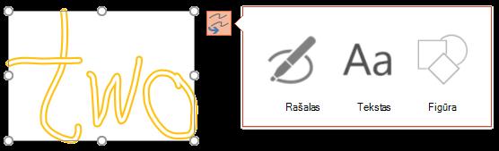 Konvertuokite rankraštį nurodo, kokio tipo objektą jis gali bandyti konvertuoti pažymėtą objektą į.