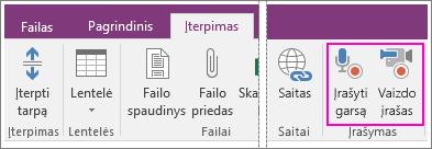 """""""OneNote 2016"""" meniu Įterpimas su AV mygtukais ekrano kopija."""