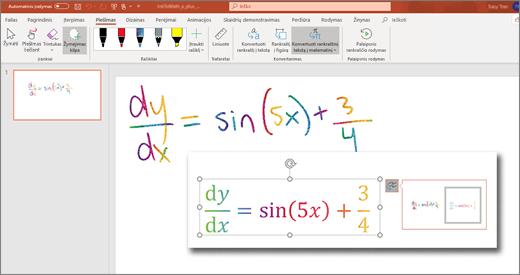 Rankraštinio teksto konvertavimas į matematinį