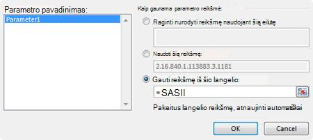 Dialogo langas MS užklausos parametras