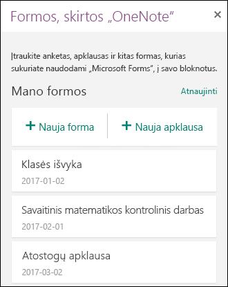 """Formos, skirtos """"OneNote"""" sričiai programoje """"OneNote Online"""""""