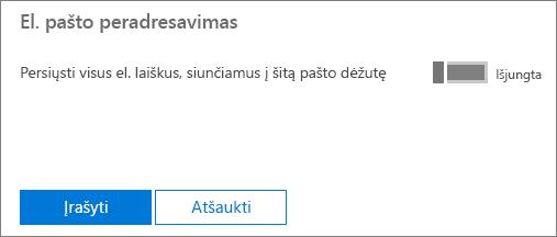 Ekrano kopijoje pavaizduotas vartotojos Alės Laukaitienės profilio puslapis, kuriame parinktis El. pašto peradresavimas nustatyta kaip Pritaikyta ir prieinama redagavimo parinktis.