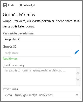 """Pavadinimo įvedimo ir spustelėjimo Kurti norint sukurti """"OneDrive"""" verslui grupę ekrano nuotrauka"""