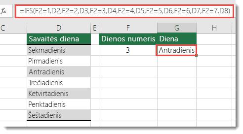 IFS funkcija – savaitės dienos pavyzdys – formulė langelyje G2 yra =IFS(F2=1,D2,F2=2,D3,F2=3,D4,F2=4,D5,F2=5,D6,F2=6,D7,F2=7,D8)