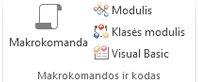 """Access"" juostelės grupės Makrokomandos ir kodas vaizdas"