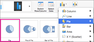 Office for Mac Chart Type Selector