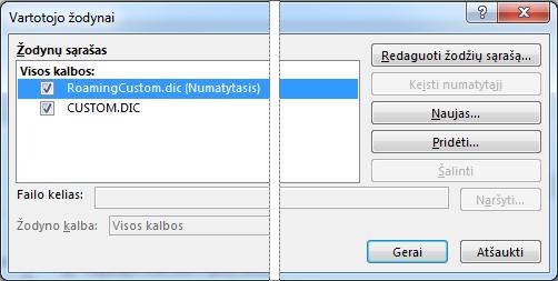 Pasirinktinio žodyno dialogo langas