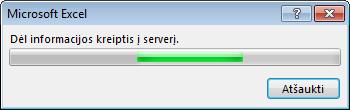"""""""Office"""" pranešimas: Susisiekimas su serveriu, norint gauti daugiau informacijos"""