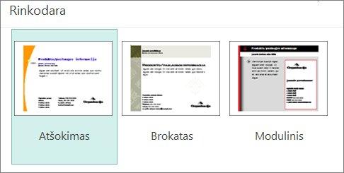 """Rinkodaros atvirukų šablonai, skirti """"Publisher""""."""