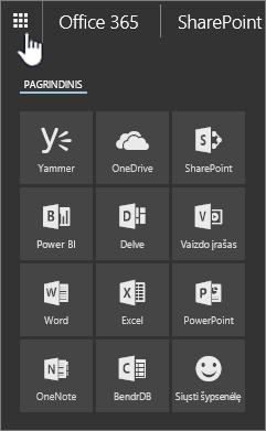 """""""SharePoint Online"""" programos paleidimo atidarykite paleidimo mygtukas"""