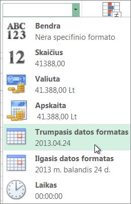 Skaičių formatų galerijoje esanti komanda Trumpoji data