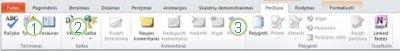"""Skirtukas Peržiūra programos """"PowerPoint 2010"""" juostelėje."""