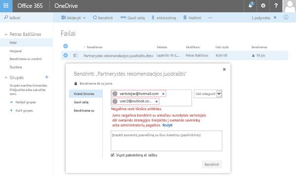 """Vartotojai gaus šią klaidą, kai bandomas bendrinti """"OneDrive"""" dokumentų tik domeno adresu."""