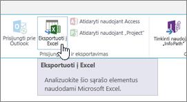 """SharePoint eksportuoti į """"Excel"""" mygtukas juostelėje, paryškinta"""