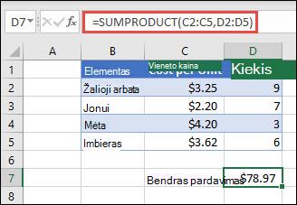 Funkcijos SUMPRODUCT pavyzdys, naudojamas norint pateikti parduotų elementų sumą, kai pateikiama vieneto savikaina ir kiekis.