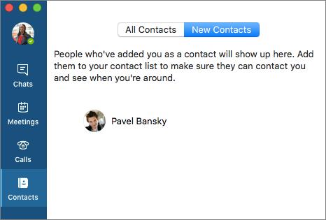 Naujų kontaktų sąrašo skirtuke Kontaktai