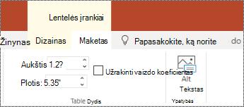 "Mygtukas Alternatyvusis tekstas ""PowerPoint Online"" lentelės juostelėje."