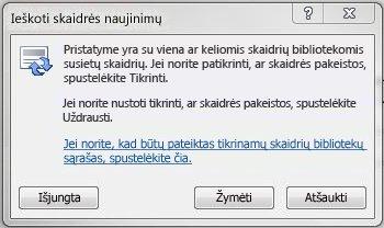 Dialogo langas Tikrinimas, ar skaidrė neatnaujinta