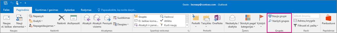 """Grupių parinktis pagrindinėje """"Outlook"""" juostelėje"""