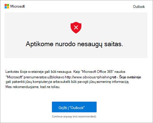 Nesaugių saitą įspėjimo Ekrano kopijos kūrimas