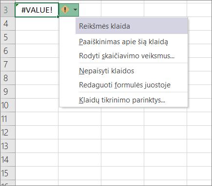 Išplečiamajame sąraše rodomas šalia piktogramos sekimo reikšmė
