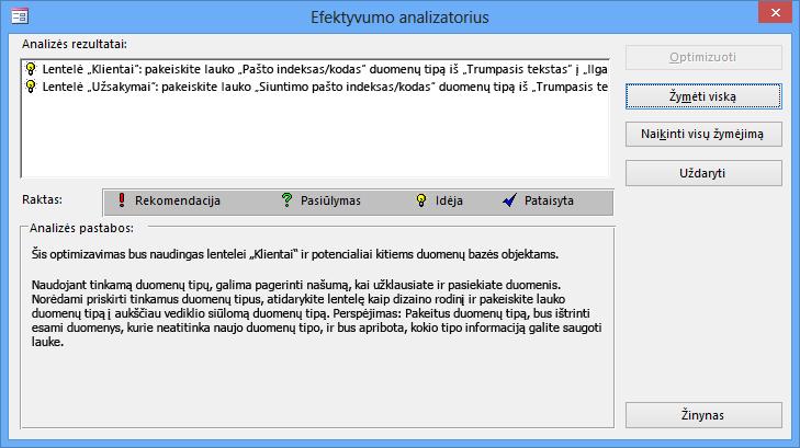"""Našumo analizatoriaus rezultatų dialogo langas, jį vykdžius su """"Access"""" duomenų baze."""