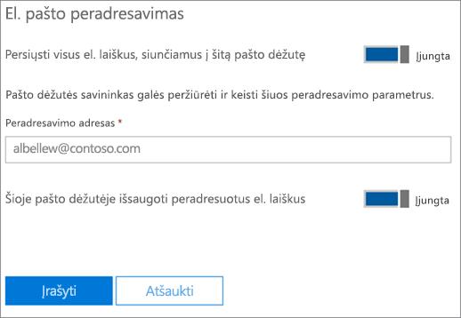 Ekrano: Peradresavimo elektroninio pašto adresą